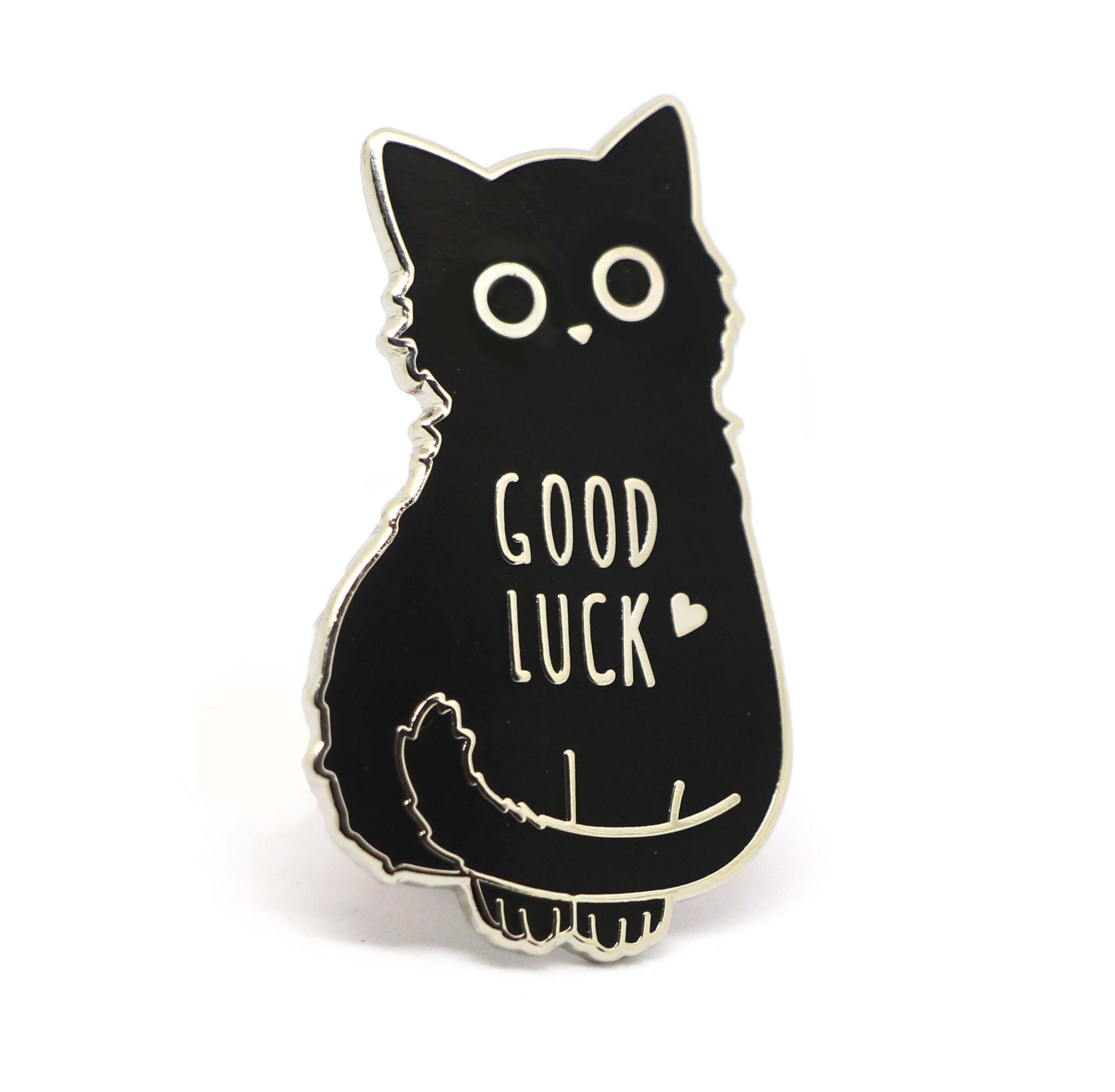 Good Luck Black Cat Enamel Pin Compoco