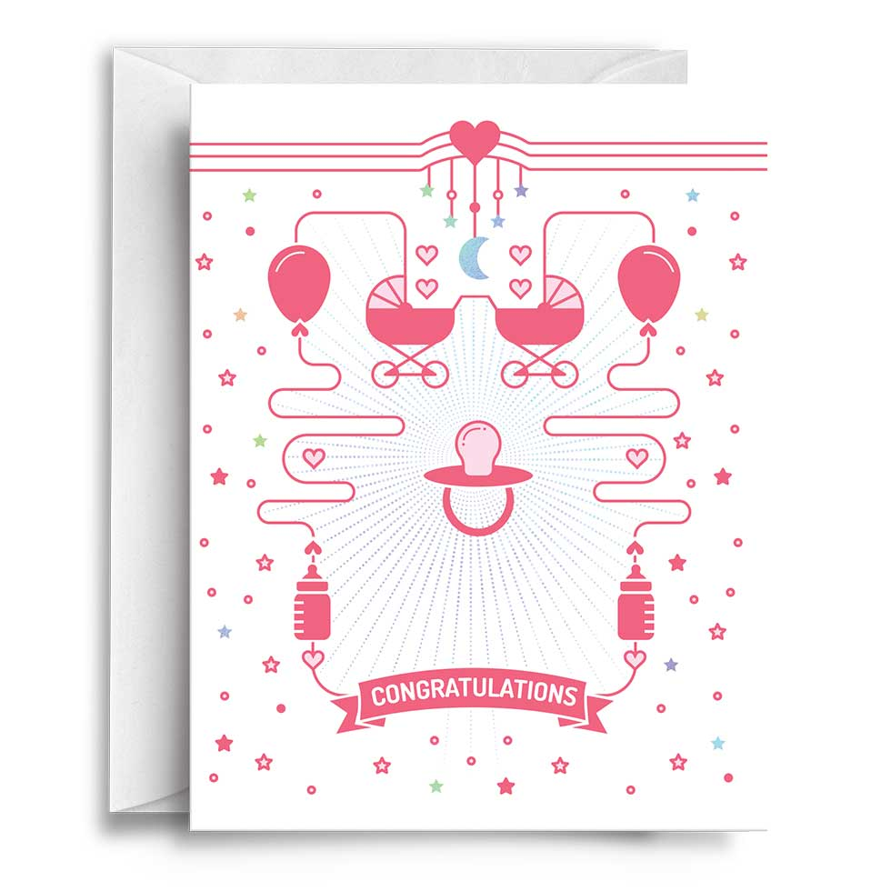 Congratulations baby pink greeting card compoco congratulations baby pink 500 greeting card m4hsunfo